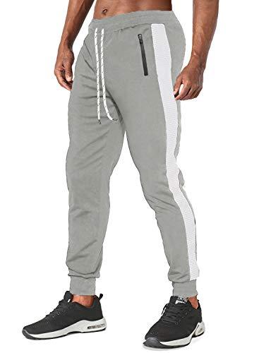 TACVASEN Mens Slim Fit Gym Joggers Sweatpants Tracksuit Jogging Bottoms Running Pants, 32 Light Grey