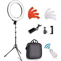 LED Ringlicht Kit, FOSITAN 18 Zoll / 48cm Außen 55W 5500K Dimmbare 240 LED ringleuchte mit 2M Licht Stand, Bluetooth-Empfänger für Smartphone, für Kamera-Fotostudio Make-up YouTube Video Fotografie