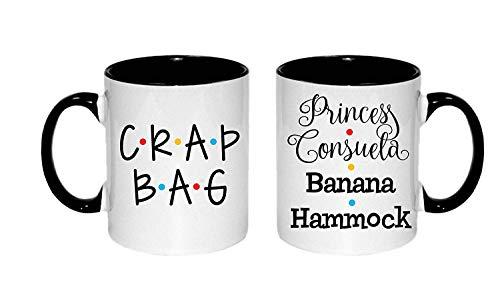 Dozili Princess Consuela Banana Hammock and Crap Bag Mug Couples Coffee Cups Set of 2 Mugs Mr and Mrs His and Hers Adult Funny Coffee Mugs, 11 Oz, White