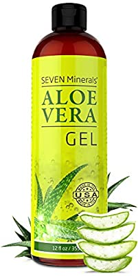 Organic Aloe Vera Gel with 100% Pure Aloe from Freshly Cut Aloe - NO ACRYLATES & CROSSPOLYMERS, so it absorbs rapidly with No sticky residue - Big 355 ml / 12 fl oz by Seven Minerals