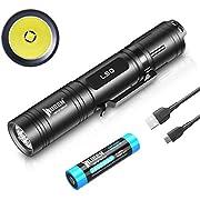 WUBEN L50 Taschenlampe LED 1200 Lumens Super hell Handlampe Micro-USB Aufladbar Taktische Taschenlampen 5 MODI Wasserdicht IP68 für outdoor Camping Wandern (Mit 18650 Akku)