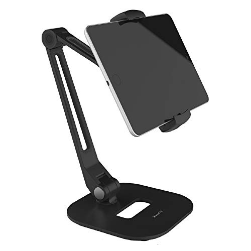 Stand for iPad, Desktop Tablet Holder with Heavy Base and 2-Level Metal Arm, for 4.7-12.9 Inch Tablets, E-readers and Smartphones (Black)