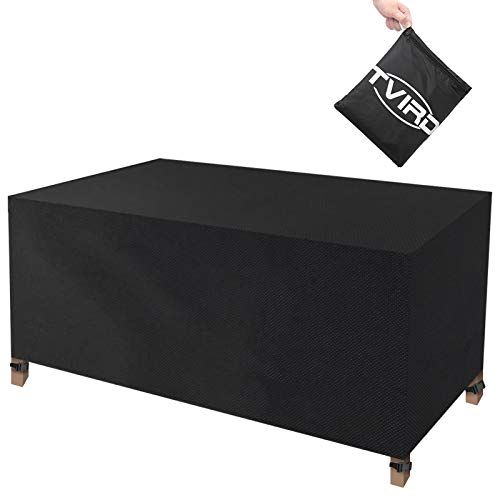 Tvird Garden Furniture Cover, Garden Table Cover, Patio Furniture Covers Waterproof 420D Heavy Duty Oxford with 4 Fixing Buckles Windproof and Anti-UV Patio Set Cover Rectangular 170x94x70 cm(Black)