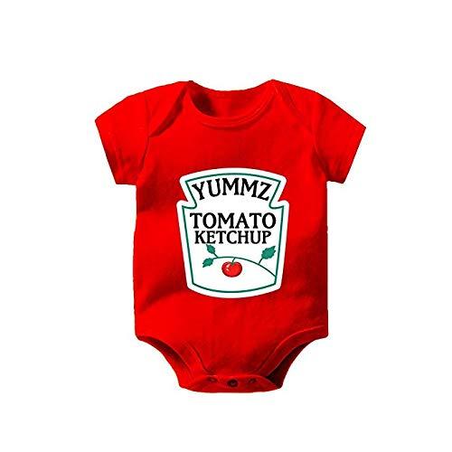 出産祝いに最適!キッズ べビー ロンパース 肌着 ツナギ 面白 お揃い ハインツ風 ケチャップ マスタード 可愛い 個性的 かぶらない カラフル 双子 (レッド 1 0-3Months)