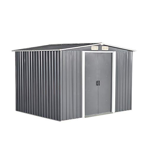 elevenfurniture 10x8ft Tool Storage House Metal Garden Apex Roof Storage Shed Door At 8FT Side (Grey)