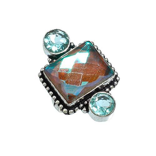 Bonito anillo de topacio místico negro facetado y topacio azul hecho a mano de plata de ley 925 chapado en plata de ley - Anillo de declaración - (SF-1984) - (tamaño del anillo (US) - 7.5)