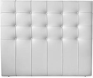 Duérmete Online 160 x 120 cm (Cama de 150) Cabecero Roma con Acolchado Botones | Tapizado en Polipiel de Alta Gama | Medidas, Madera, Blanco