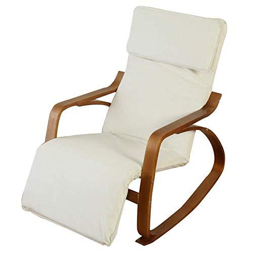 Lounge Chair Mecedora Silla Plegable del hogar clásico Salón Sillones Velero con 5 Modos Ajustables Reposapiés Porches Patios Traseros de 4 Colores (Color : White)