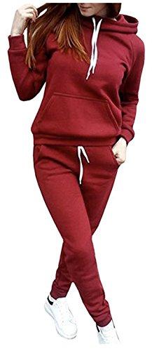 SUKIYAKI Women Jogger Outfit Matching Sweat Suits Long Sleeve Hooded Sweatshirt Sweatpants 2 Piece Sports Sets (XL, Red)
