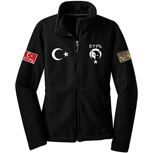 ÜLKÜCÜ Market Sweatjacke Baumwollfleece Fleecejacke Outdoor Übergangsjacke mit Reißverschluss schwarz S