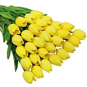 Olrla 12 Piezas de Flores de Tulipanes Artificiales Rosas, Tulipanes de látex de imitación para Boda, decoración de…