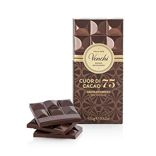 Venchi Tavoletta di Cioccolato Fondente 75% Cuor di Cacao 100g - Cioccolato Fondente Centro Sud America - Senza Glutine
