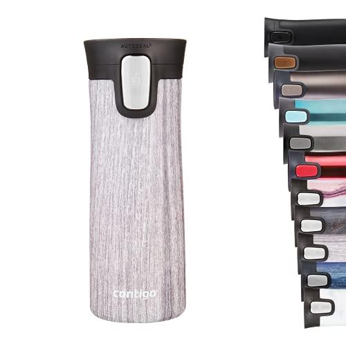Contigo Pinnacle Autoseal Thermobecher, Edelstahl-Reisebecher, Isolierflasche, auslaufsicher, Kaffeebecher to Go, Isolierbecher mit Easy-Clean-Deckel BPA-frei; Blonde Wood, 420 ml