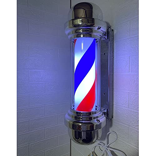 Barber Shop Pole Signs Poste Rotativo Luminoso con Tiras Exterior Clásico Impermeable LED Peluquería Open Sign Montado en La Pared Lámpara