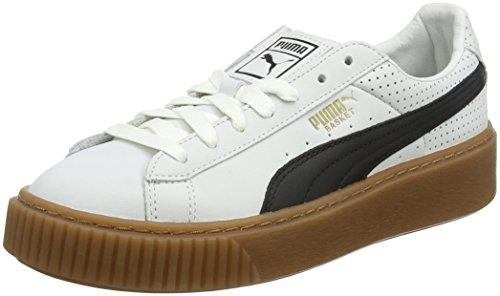 Puma Basket Platform Perf Gum, Scarpe da Ginnastica Basse Donna, Bianco White-Black-Gold, 41 EU