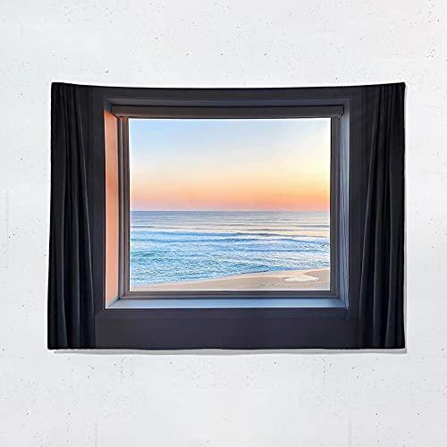 Tapiz de decoración de Pared para Colgar en la Ventana de la habitación decoración escénica del océano Kawaii Sunset Seaview Seascape Decoración Mural A2 200x150cm