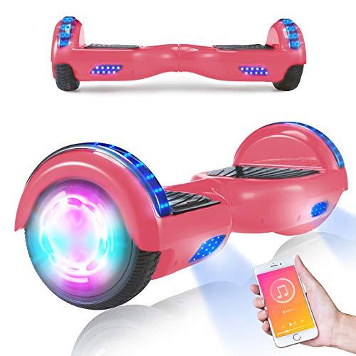 OLKJ Hoverboard, Patinete autoequilibrado con Ruedas de 6.5'Potente Motor eléctrico con Altavoz Bluetooth y Luces LED, niños Adultos (Rosado)