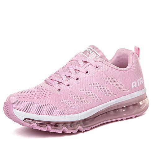 smarten Sportschuhe Herren Damen Laufschuhe Unisex Turnschuhe Air Atmungsaktiv Running Schuhe mit Luftpolster Pink 35 EU