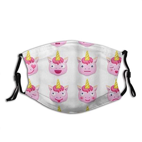 Mundschutz Emoji Pink Unicorn Emotion Gesichtsschutz Waschbare Frauen Stoff Polyester Wiederverwendbarer Mund Bandana Hals Gamasche Männer