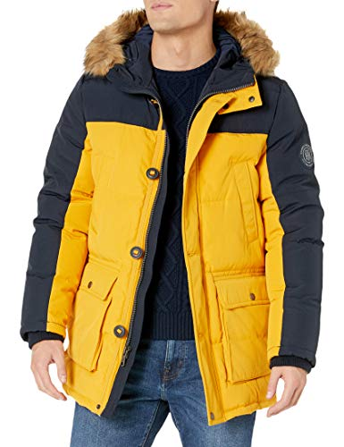 Tommy Hilfiger Men's Boys' Arctic Cloth Full Length Quilted Snorkel Jacket (Regular and Big and Tall Sizes), Yellow/Navy Combo, Medium