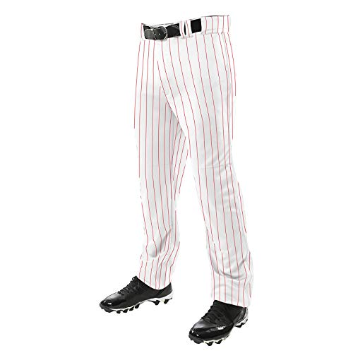 CHAMPRO Men's Triple Crown OB Open-Bottom Loose-Fit Baseball Pant with Knit-in Pinstripes