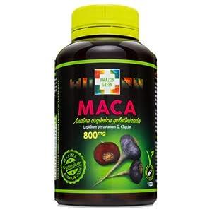 Amazon Green - Maca Andina Gelatizada 800mg 100 Comrpimidos - Compuesto por Maca Roja y Maca Ngera originaria del Perú - Ayuda a adaptarse al de estrés, cansancio y mejorar rendimiento.
