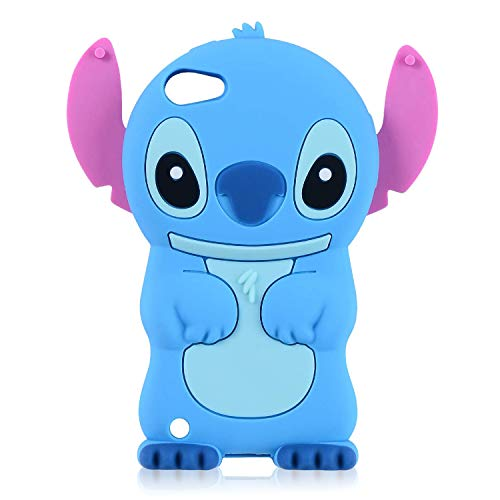 Qerrassa Blue Stitch Classic Silicone Case for iPod Touch 4 iTouch 4 iPod 4,Cute Animal Cartoon Cover Kids Girls Fun Soft Cases Cool Funny Design Fashion Stylish Kawaii Unique for iPod Touch 4
