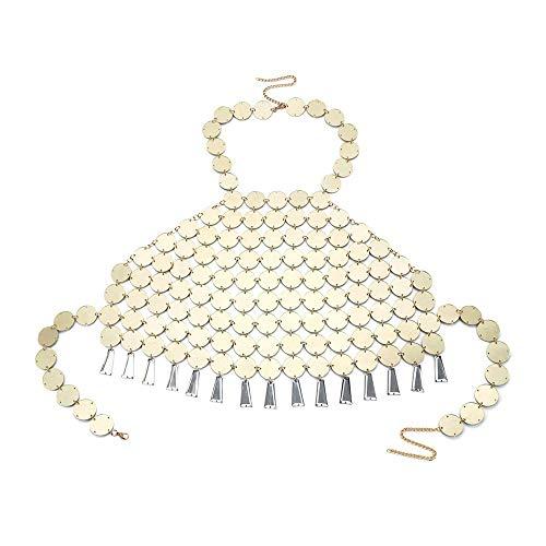 Onefeart Vergoldet Halskette Anhänger für Frauen Paillette Design Truhe Kette Sexy Übertriebener Stil Anhänger Schmuck 25CMx40CMx63CM Gold