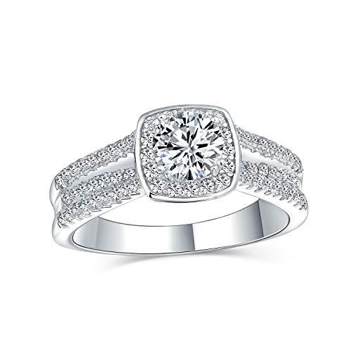 Bling Jewelry 2Ct Cojín Cuadrado Cortar Solitario Halo AAA CZ Anillo De Compromiso para Mujer Micropave Triple Banda Mango 925