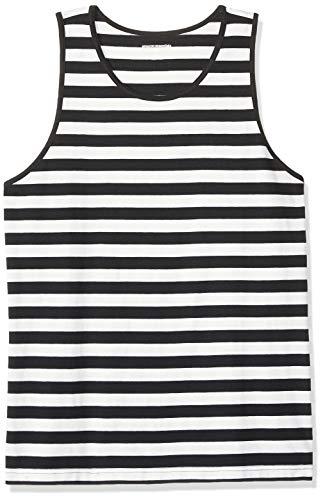 Amazon Essentials - Camiseta regular sin mangas para hombre, diseño de rayas, Negro/Blanco, US XS (EU XS)