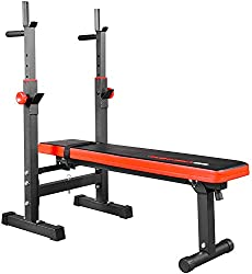 TrainHard® multifunction weight bench press bench with folding barbell rack - black / red