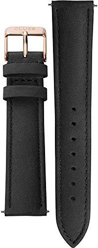 CLUSE Women's La Boheme Black Leather Strap 18 mm & Rose Gold Buckle CLS001 Suitable for La Boheme, La Roche & Pavane - 38 mm Case