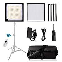 Led柔軟なハンドヘルドビデオフィルライト、5500Kポータブル写真撮影ライト、ビデオブログYoutubeパネルライト、リモコン付き30 * 30cmカメラメイクフィルライト,1Pack