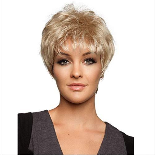 FH JIAFA - Perruque, Perruque de Haute qualité de Vrais Cheveux de la Mode des Cheveux des Femmes de lumière dorée Duveteuse Courte d'or Droite