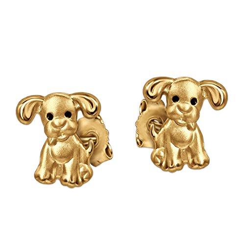 CLEVER SCHMUCK Goldene kleine Mädchen Ohrringe als Ohrstecker Mini Hund 6 mm mit schwarzen Augen matt und glänzend für Kinder 333 Gold 8 Karat