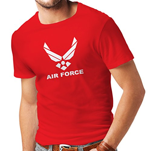 lepni.me Camisetas Hombre United States Air Force (USAF) - U. S. Army, USA Armed Forces (XX-Large Rojo Blanco)
