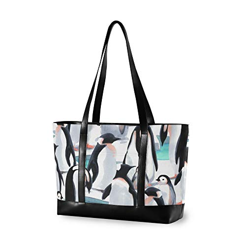 RELEESSS - Bolsa de hombro para ordenador portátil, diseño de pingüino de acuarela