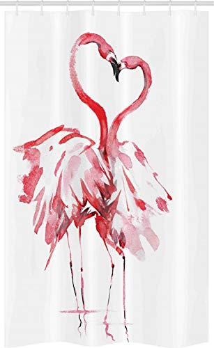 ABAKUHAUS Flamingo Schmaler Duschvorhang, Lovers Kissing, Badezimmer Deko Set aus Stoff mit Haken, 120 x 180 cm, Weiß
