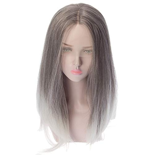Women's Wig Divided Black Gray Gradient Long Roll Large Wave Lady Wig Front Lace Gradient Black Gray Lady Wig Halloween Role Play Costume Dance