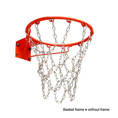 LIULU Heavy-Duty-Edelstahl-Eisen-Ketten-Basketballkorb-Netz aus verzinktem Metall Durable Basketball Net 12 Buckle (mit Haken) (Color : Silver)