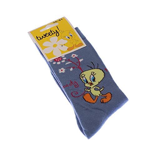 Looney Tunes Socke mittelhoch - 1 paar - ohne Frotte - Tier - Coton - Bleu Tweety - 36/41