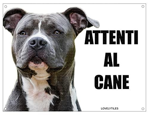 AMSTAFF attenti al cane mod 3 TARGA cartello IN METALLO (15X20)