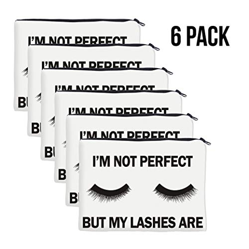QincLing 6 Pack Eyelashes Makeup Bag - Cosmetic Pouch Bag Make Up Bag Travel Toiletry Case Pencil Case Organizer with Zippered for Travel Toiletry Beauty Pencil Bag (6 Pieces)