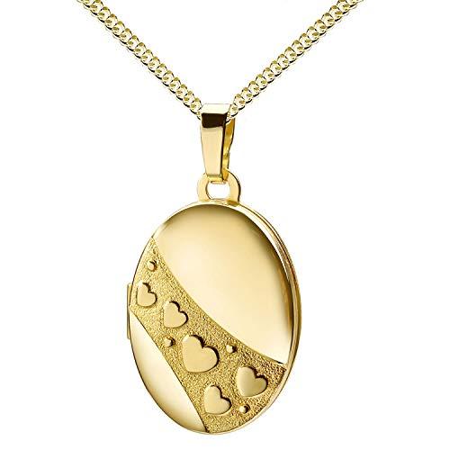 Haus der Herzen® Medaglione ovale con cuori, oro 333, per la festa della mamma, San Valentino, amuleto, con custodia e 8 carati (333) oro giallo - con catenina, cod. 8462_2