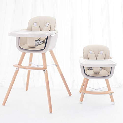 FUNNY SUPPLY 3-in-1 Convertible Wooden High Chair with Removable Tray and Adjustable Legs and Cushion - Cream Color