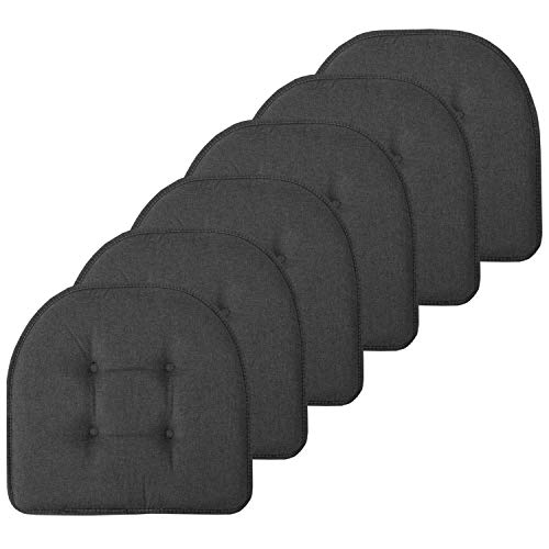 Sweet Home Collection Chair Cushion Memory Foam Pads Tufted Slip Non Skid Rubber Back U-Shaped 17' x 16' Seat Cover, 6 Pack, Charcoal Gray