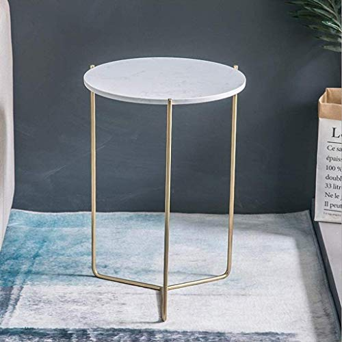 Fashionable Bedside Table End Tables Side Table, Living Room Bedroom Family Corridor Sofa Table, Coffee Tables Living Room Table, Marble Look Sofa Side Nest of Tables Round End Tables with Gold Meta
