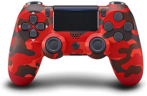 PEOPPARK PS-4 Controller Wireless Bluetooth Gamepad, Touch Panel with Dual Vibration and Audio Function Anti-Slip Grip for Plays 4/Pro/Slim/PC (Red Camouflage)