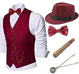 BABEYOND 1920s Mens Gatsby Gangster Vest Costume Accessories Set Manhattan Fedora Hat Bowtie Plastic Cigar Vintage Pocket Watch (Wine Red, Medium