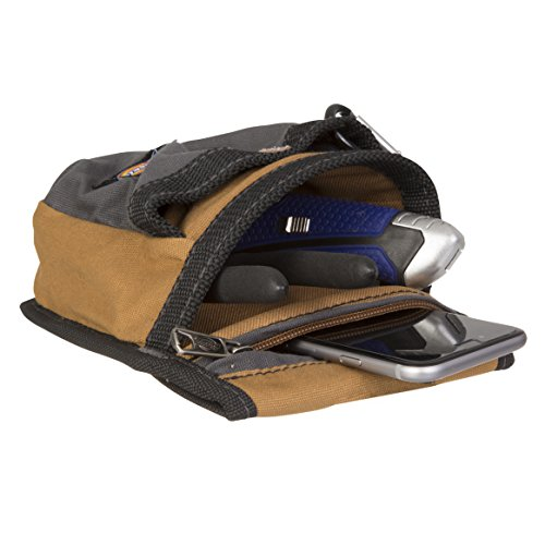 Dickies Zipper Pocket Canvas Pouch for Tool and Work Belts, Four Pockets, Cushioned Pocket, Grey/Tan